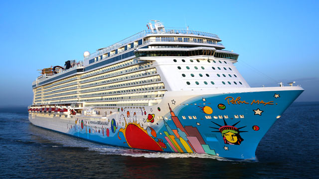 PHOTO: This April 29, 2013 photo provided by Norwegian Cruise Line shows the company?s new cruise ship, Norwegian Breakaway, sailing from Southampton, England, to New York, arriving on May 7, 2013 and is scheduled to be christened on May 8, 2013.