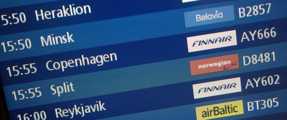 PHOTO: A display board indicates the scheduled arrival of Finnair flight 666 from Copenhagen, Denmark to Helsinki, Finland, Oct. 13, 2017.