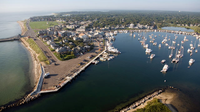 PHOTO: An aerial view of Oak Bluffs Massachusetts on the island of Martha's Vineyard, is shown.