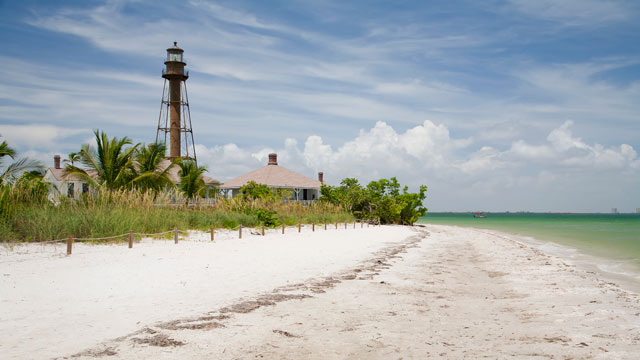 PHOTO: The beach near Sanibel Lighthouse on Sanibel Island, Florida.