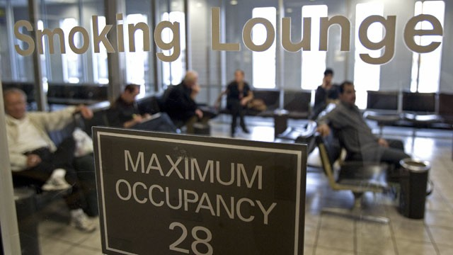 Smokers enjoyed the smoking lounge at Washington's Dulles International Airport back in March 28, 2007. 