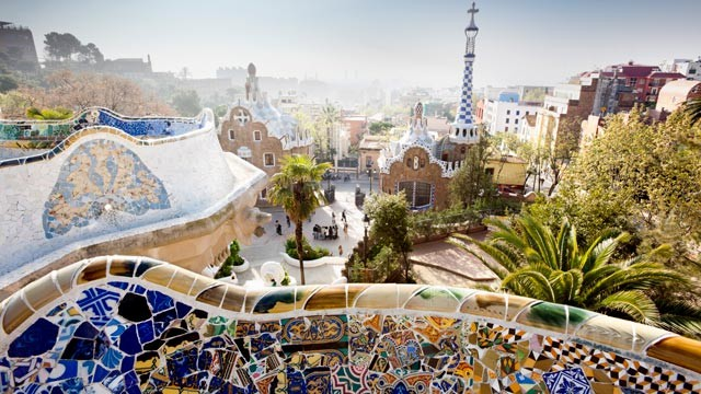 PHOTO: Park Guell, design by architect Antonio Gaudi, overlooks Barcelona, Spain.