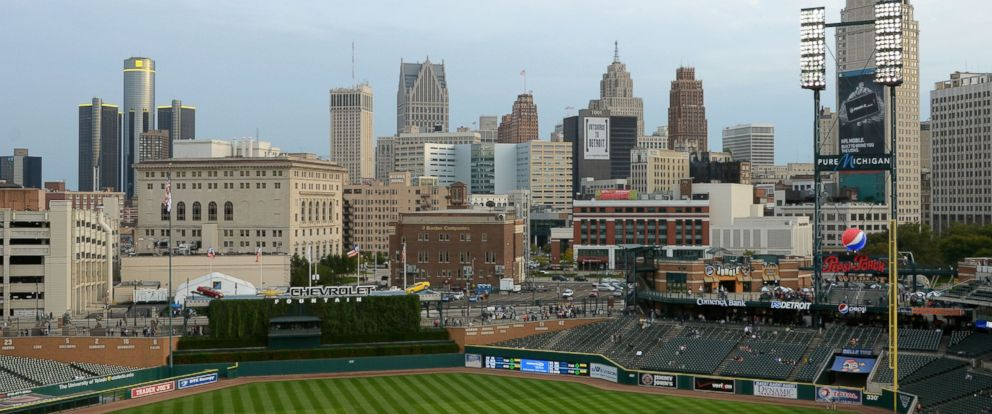 PHOTO: A general view of Comerica Park and the Detroit skyline on Sept. 25, 2012 in Detroit, Michigan.