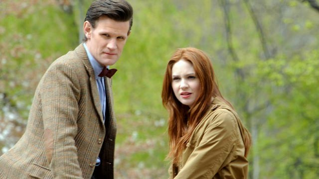 "PHOTO: Matt Smith and Karen Gillan filming on location for ""Doctor Who"" in Central Park, April 11, 2012, in New York City."