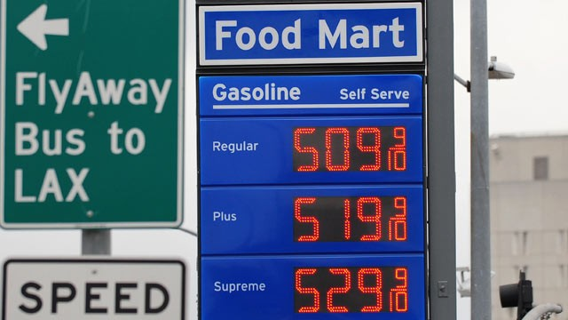 PHOTO: Prices posted at a gas station in downtown Los Angeles where gas is selling for over five dollars a gallon, March 16, 2012 in California.
