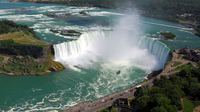 PHOTO: An aerial view of Niagara Falls is shown.