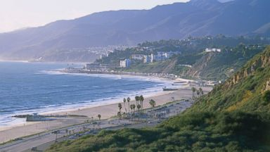 An undated photo shows the coastline along Malibu, the Pacific Palisades, and Santa Monica Bay in California.