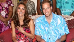 PHOTO: Catherine, Duchess of Cambridge and Prince William, Duke of Cambridge pose wearing traditional island clothing during a visit to the Governor General's house as part of their Diamond Jubilee tour of the Far East on September 16, 2012 in Honiara, Gu