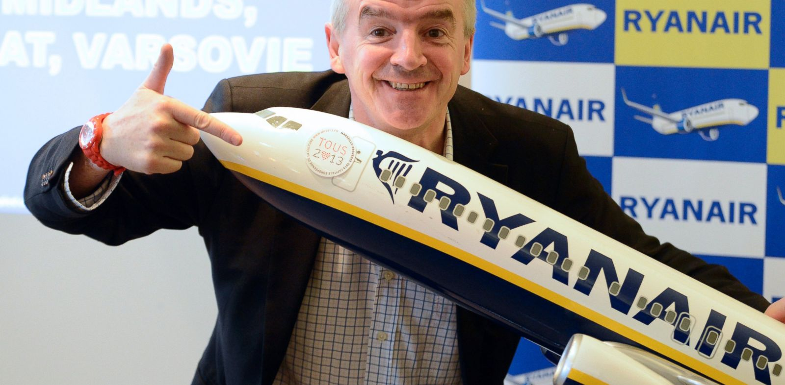 PHOTO: Chief executive officer of Irish airline Ryanair Michael OLeary leans on a model Ryanair airplane, Jan. 16, 2013 during a press conference in Vitrolles, France.