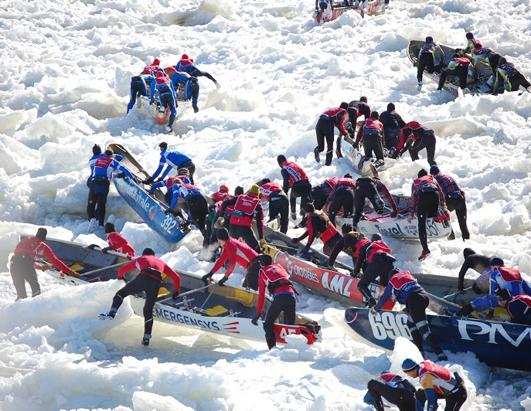 Ice Canoe Races In Quebec