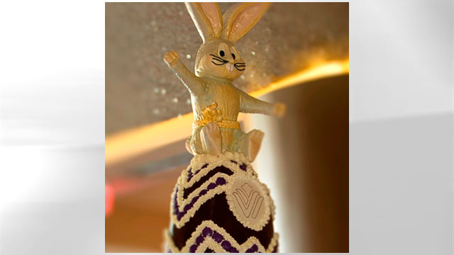 "PHOTO: Not to be outdone by a mere egg, the 4-foot chocolate bunny in the Wyndham Grand Orlando makes one heck of a lobby ornament. And he, too, is edible from tip to toe. Iced with 40 pounds of ""royal icing,"" Boris also sports two pounds of candied rose"