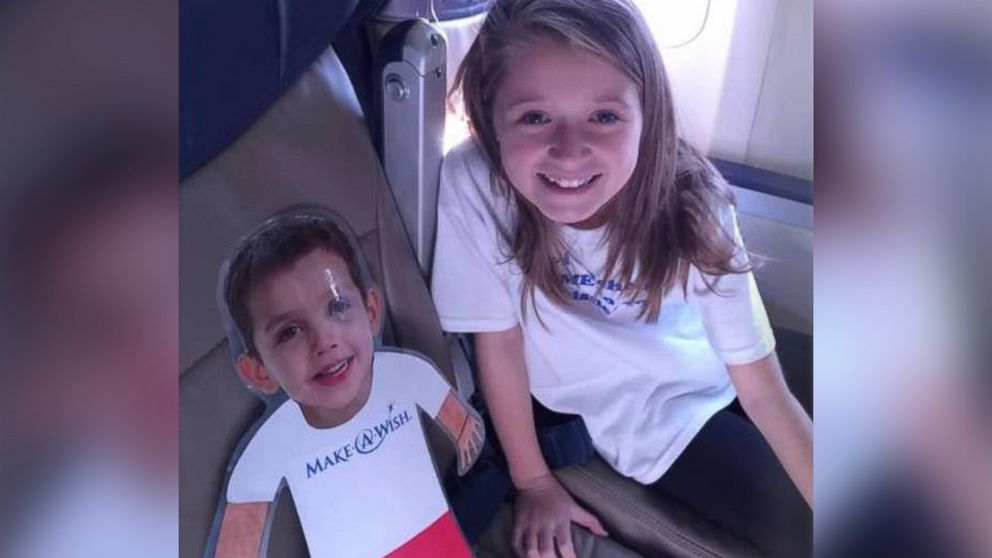 PHOTO: When Levi, 6, was diagnosed with a disease making it impossible to travel, he asked Make-A-Wish to send his friend Emma on an adventure for him.