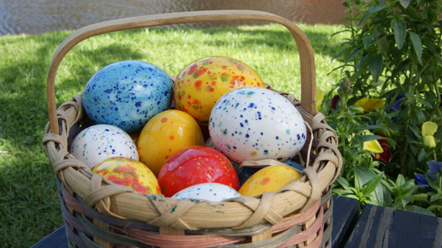 "PHOTO: Don't try munching one of these ornamental eggs - they're actually ceramic, hand-painted by Middleton Place's own on-staff potter. They'll be ""prize eggs"" hidden around the gorgeous grounds of ""America's Oldest Landscaped Garden"" for the annual Egg"