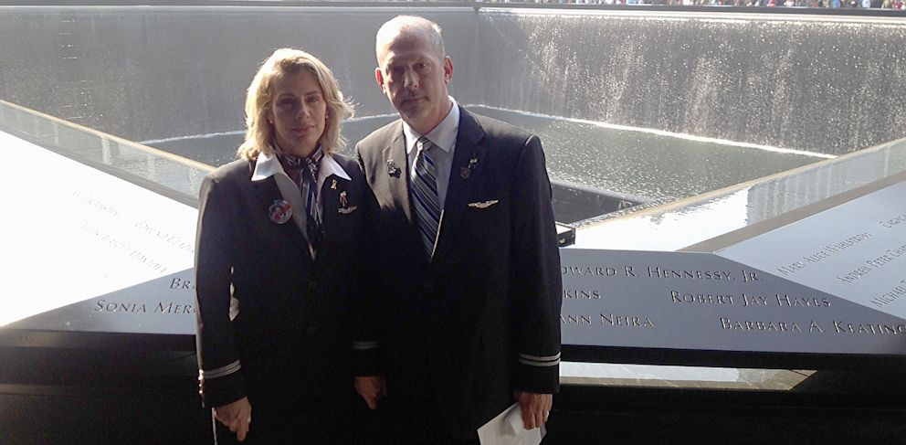 PHOTO: AFA International Vice President Sara Nelson and AFA President at United Airlines Greg Davidowitch mark moment of silence at 9-11 Memorial in New York City