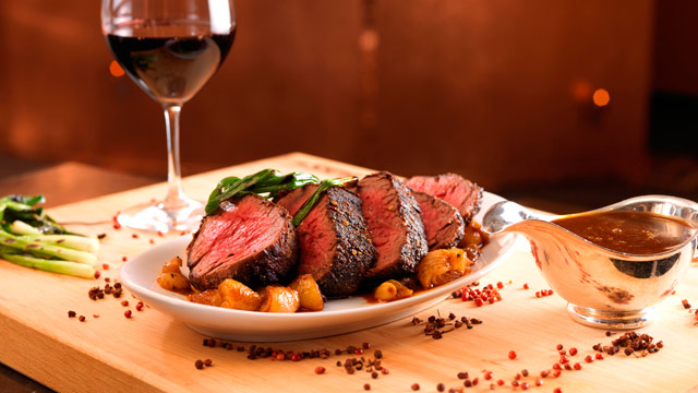 PHOTO: SW Steakhouse pepper-crusted Chateaubriand.