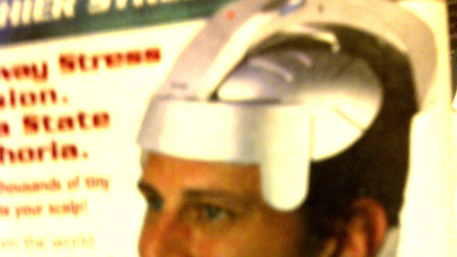 "PHOTO: Seen here is the SomaWave Helmet, a silver-colored futuristic-looking gizmo that sits on your noggin and the battery-powered vibrations supposedly melt away stress and tension (""like having thousands of tiny fingers stimulate your scalp!"")."