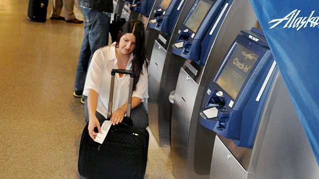 PHOTO: Alaska Airlines Self Tag Check-In kiosk