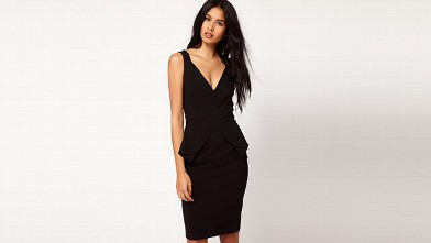 PHOTO: Hybrid Plunge Neck Peplum Midi Pencil Dress