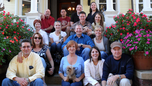 PHOTO: Veterans and their loved ones at the Azalea Inn & Gardens in Savannah, GA. Pictured center is the innkeeper, Theresa Scott Jacobson.