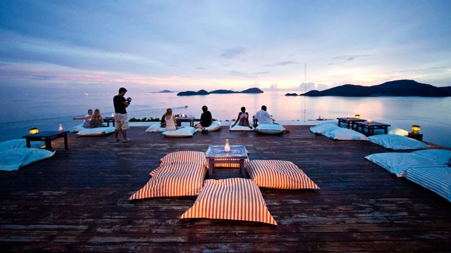PHOTO: Baba's Nest rooftop lounge and bar, at the heart of the Sri Panwa resort in Phuket, Thailand, offers 360-degree panoramic views of the surrounding sea.