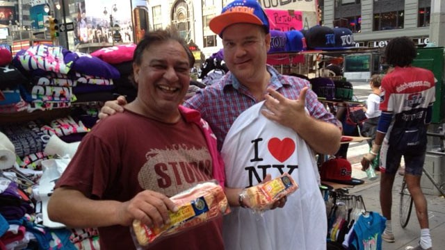 PHOTO: Josh Sankey in New York City where he bartered bacon for memorabilia. He will travel cross-country with nothing but a truck full of bacon as barter for food, lodging, gas and anything else he needs.