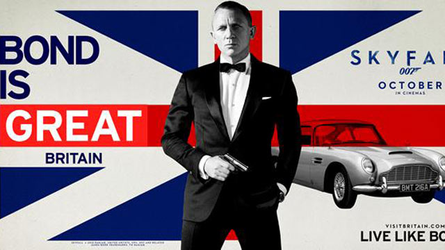 "PHOTO: Great Britain's most famous fictional spy might criss-cross the world for his sexy super-secret missions, but the UK claims him as their own -and when Skyfall hit theaters in October the UK went ""all in"" on their 007 bet with a huge movie-related t"