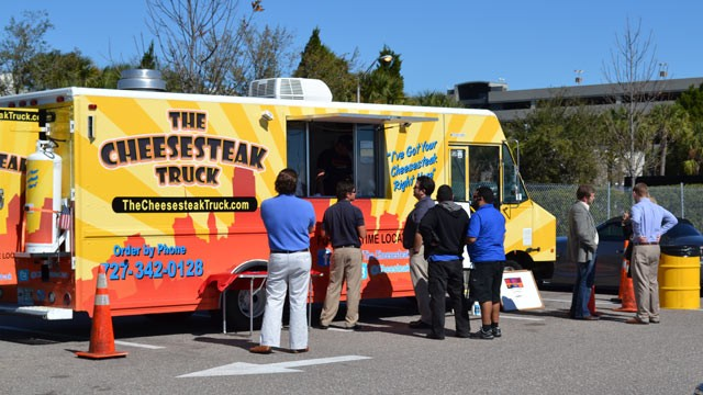 PHOTO: The Cheesesteak Truck can be found at Tampa International Airport once every week. The airport's food truck pilot program was extended after a 30-day trial and will be in place until at least August 2013.
