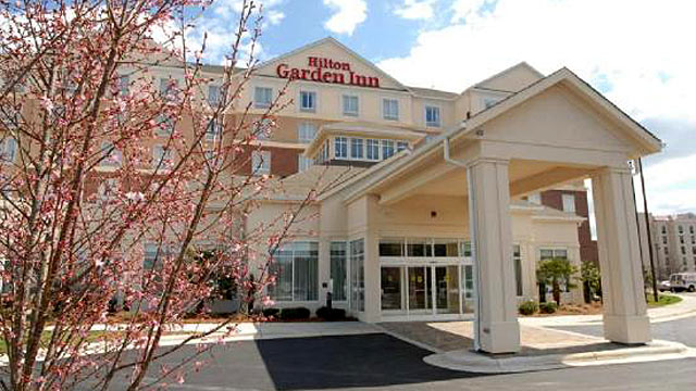 PHOTO: The Hilton Garden Inn in Concord, is the home of delegates from Arkansas during the 2012 Democratic National Convention in Charlotte, N.C.