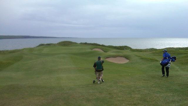 PHOTO: The seaside green of the third hole at Lahinch Golf Club, Ireland.