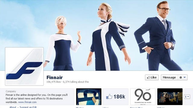 PHOTO: Finnair, Finland's national carrier, has over 186,000 likes on Facebook.