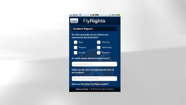 PHOTO: FlyRights' mobile app