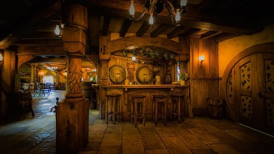 PHOTO: Green Dragon Inn located in Hobbiton, New Zealand offers movie fans the chance to drink their favorite brews and ales in the Hobbit-inspired pub