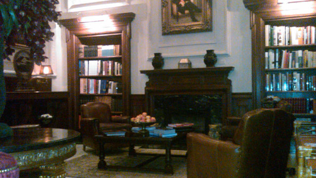 PHOTO: This Montreal hotel's library is located right off the lobby and has a great assortment of books, plus a fabulous fireplace.