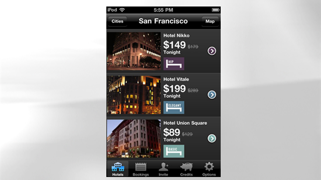 PHOTO: Hotel Tonight's mobile app