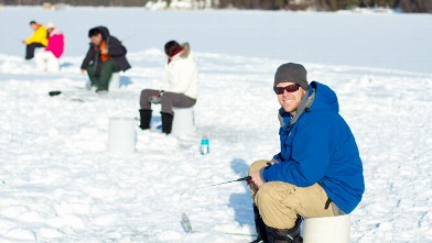 PHOTO: No casting required for ice fishing, just a hole drilled in the ice.