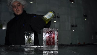 PHOTO: Stiff drinks are served in glasses made of ice, with a squared-off shape that nods to contemporary Swedish design. The novelty makes drinking more than one almost irresistible, and because these ?glasses? melt, they?re the ultimate in recycling.
