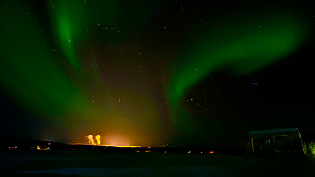 PHOTO: The Northern Lights over the mining town of Kiruna, 10 miles from Jukkasjärvi.