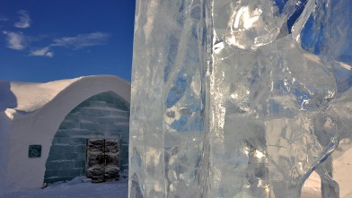 PHOTO: Ice Piazza: The sculpture by Lena Kriström greets guests