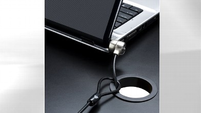 PHOTO: A laptop security lock is an essential gadget for safe traveling.