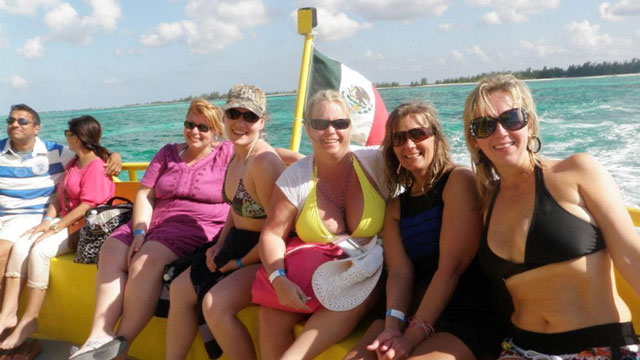 PHOTO: Melanie Jinkins (second from right) and her Carnival Triumph cruising companions,on their Cozumel, Mexico shore excursion.