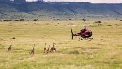 PHOTO: Elevating the African bush picnic to new heights quite literally, safari camp operator Cheli & Peacock Safaris now offers picnics on top of Mount Kenya. Helicopter up to the summit, where a healthy lunch and South African wines are arrayed on a bla