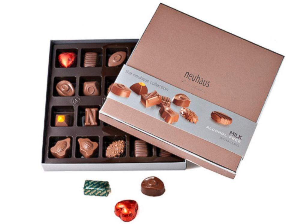 PHOTO: After dinner, Brussels Airlines passes a box of Neuhaus Belgium Chocolates to passengers in premium seating.