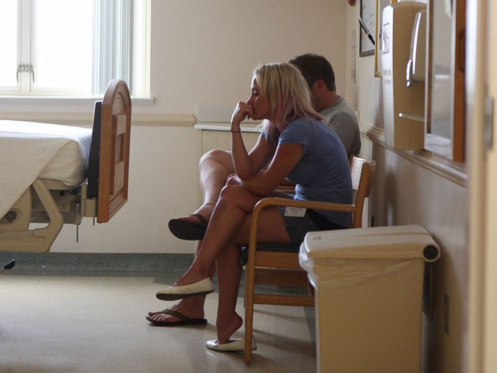 PHOTO: The Olsons wait in the hospital room to meet Tilly.