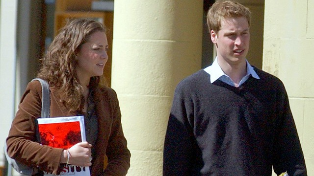 PHOTO Study buddies, Prince William and Kate Middleton, are shown on campus at St. Andrews University in 2003.