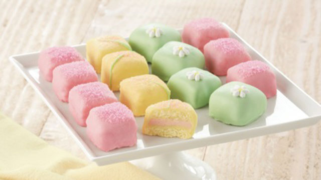 PHOTO: Adorable, simple and classic, these petit fours are a perfect grown-up gift if you're attending an Easter celebration. Let the kids stuff themselves on Cadbury - little do they know, these French treats are every bit as sweet.