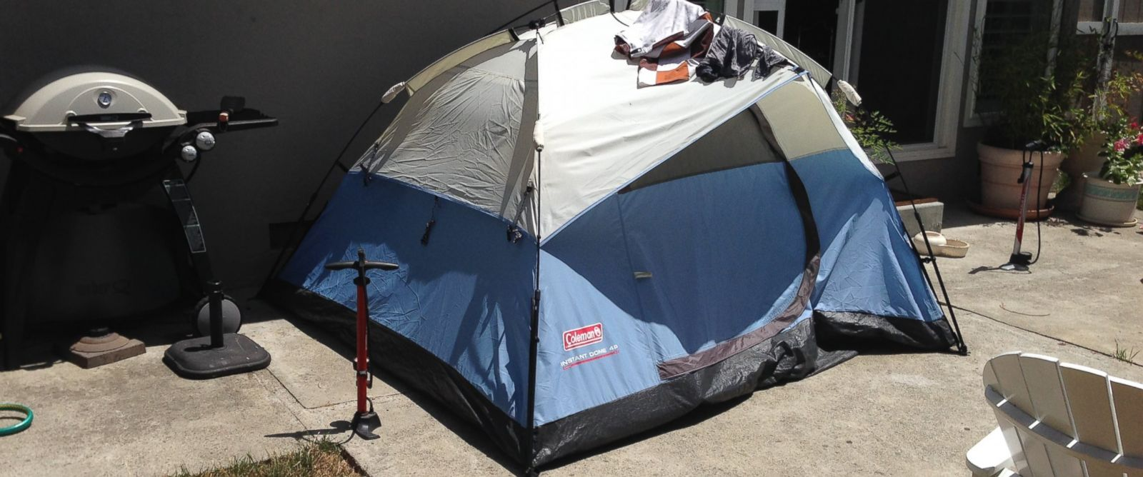 PHOTO: John Potter listed a tent in the backyard of his parents Mountain View, California, home on Airbnb for $46 a night.