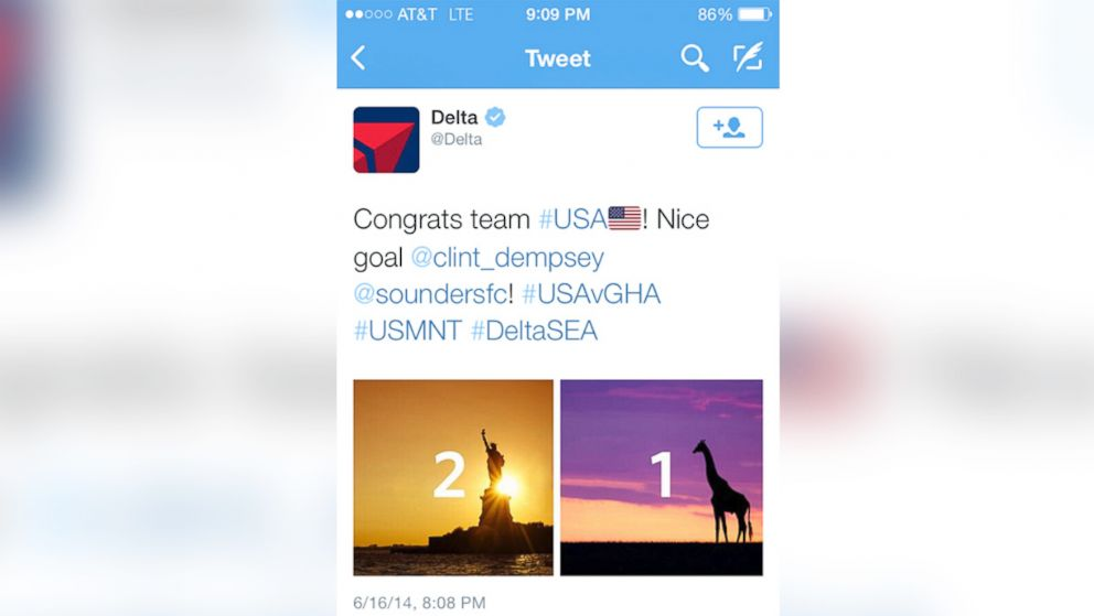 PHOTO: Delta posted this tweet on June 16, 2014 following the victory of the US soccer team in their first World Cup game against Ghana.