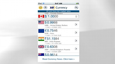 PHOTO: XE Currency's mobile app