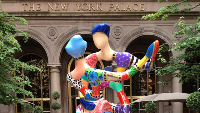 PHOTO: This summer, The Palace Hotel courtyard debuted a large, hand-painted, multi-colored bronze sculpture by artist Dorit Levinstein entitled &quot;Renoir's Dancers.&quot;