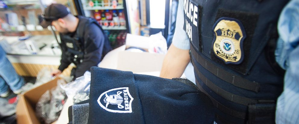 "PHOTO: U.S. Customs and Border Protection seized more than 443,249 sports-related items worth an estimated $39 million as a part of its ""Operation Team Player,"" a coordinated effort between the IPR Center and professional sports teams."